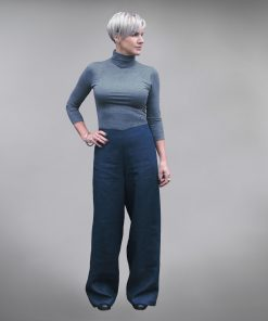 Ashford wide leg linen trousers - Navy